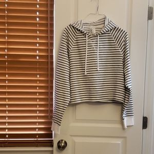 Striped cropped hoodie
